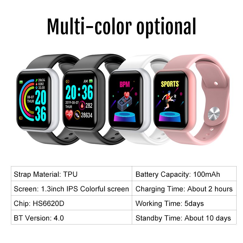 Waterproof Smart Watch Heart Rate Tracker Fitness Wristband For iPhone Android