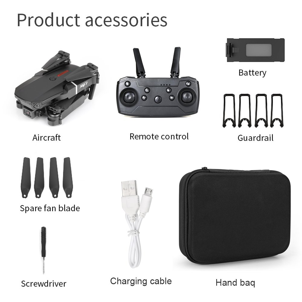 Dual Camera Drone X Pro WIFI 4K HD Foldable Selfie RC Quadcopter+Bag+1Batteries