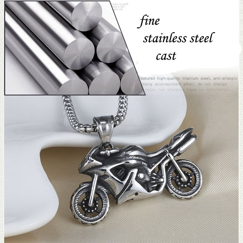 MENDEL Mens Stainless Steel Biker Motorcycle Pendant Necklace For Men 25″ Chain